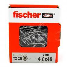 Саморезы Fischer 4x45 для ДСП и фасада из нержавейки