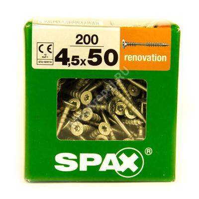 Саморезы для крепления фасадной и террасной доски SPAX 4.5x50 (200 шт. + бита)